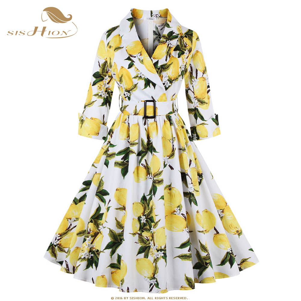 SISHION Fashion Yellow Lemon Print Autumn Dress Elegant 3/4 Sleeve Black White Swing Vintage Casual Rockabilly Dress VD0398