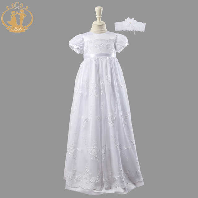 Nimble Newborn Baby Girls Christening Gowns White Lace Embroidered Baptismal Floor-Length Two Pieces