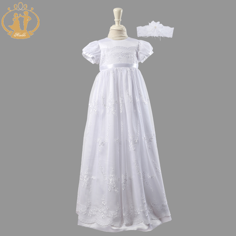 Nimble Newborn Baby Girls Christening Gowns White Lace Embroidered Baptismal Floor Length infant dress vestidosTwo Pieces