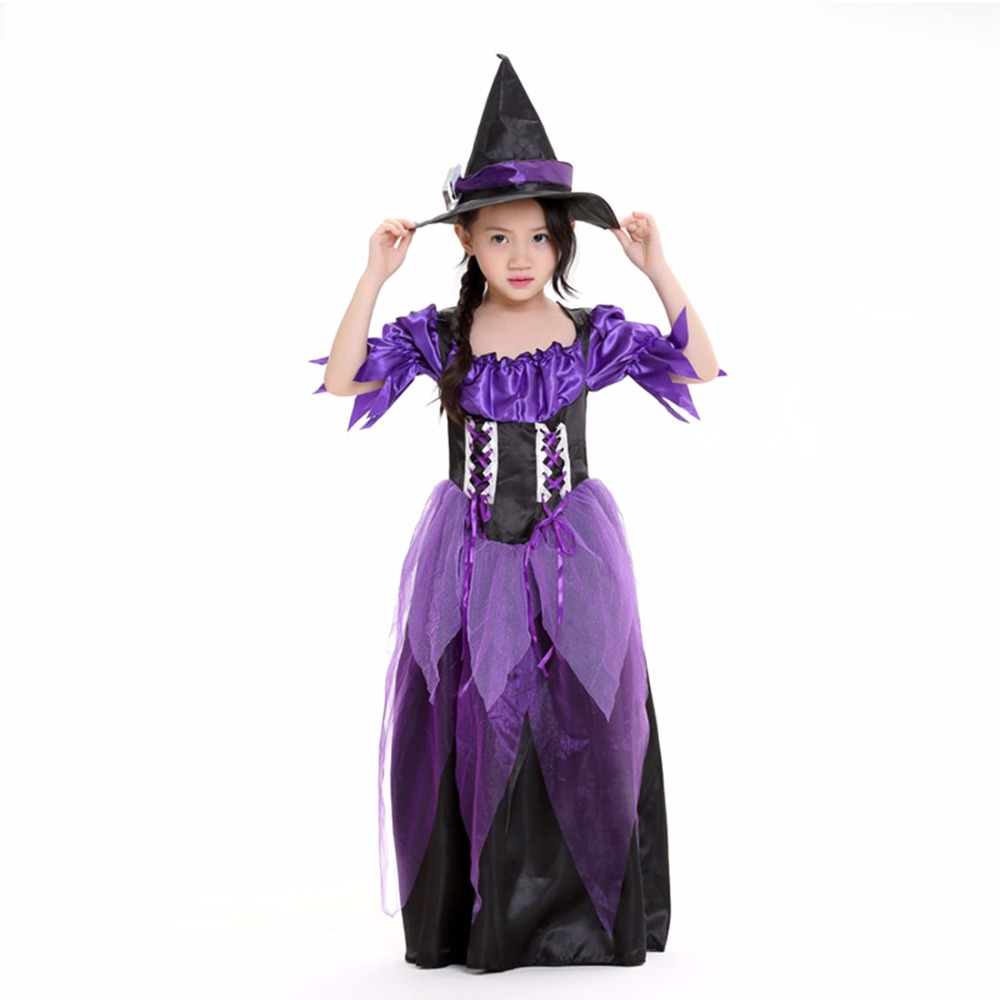 kids witch costume black and purple dress black magic wizard