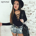 Sexy deep v neck lace up black jumpsuit romper Women slim long sleeve short bodysuit Body