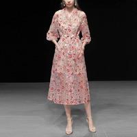 High end Mesh Floral Embroidery Runway Dress For Women Sping 2019 Elegant Vintage Notched Lantern Sleeve Blazer Dress