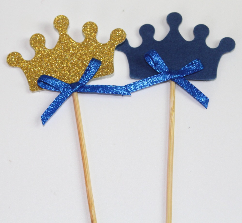 Gold Glitter Crown Cupcake Toppers /& PINK Bow 50 Pack Cake Decoration For D