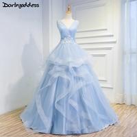 Darlingoddess Beach Wedding Dresses 2017 High Quality Lace Up Back Sleeveless Light Blue Elegant Wedding Gowns Vestido De Noiva