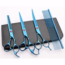 20Sets Suit 7inch Japan Customized Logo Pets Hair Clipper Grooming-for-dogs Comb+Cutting&Thinning Scissors&Up Curved Shear C3002
