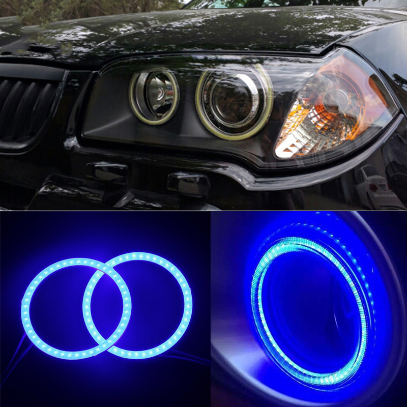 4 Pairs COB 80 MM Led Car Angel Eye Do Farol Do Carro Auto Abajures de Halo Anel Lâmpadas de Advertência com Tampa Brilhante COB Chip motocicleta