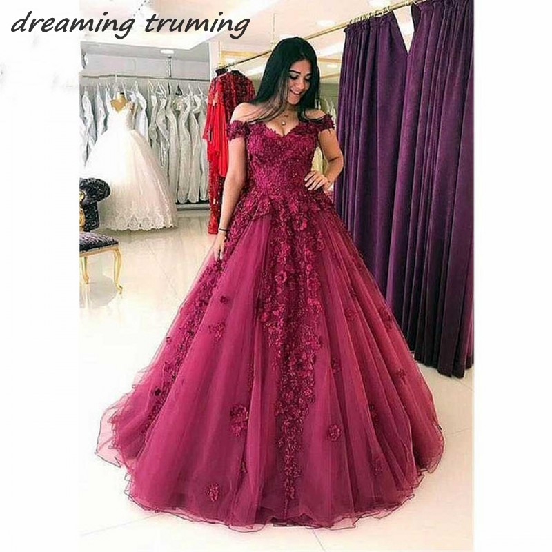 Sexy Women Burgundy   Prom     Dress   2019 Arabic Lace Appliques A Line Wine Red Women Evening Gown Party   Dress   Robe De Soiree