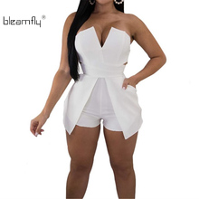 2018 Sexy Strapless Backless Short Playsuit Women Summer Sleeveless Off Shoulder Jumpsuit Mini One Piece Rompers