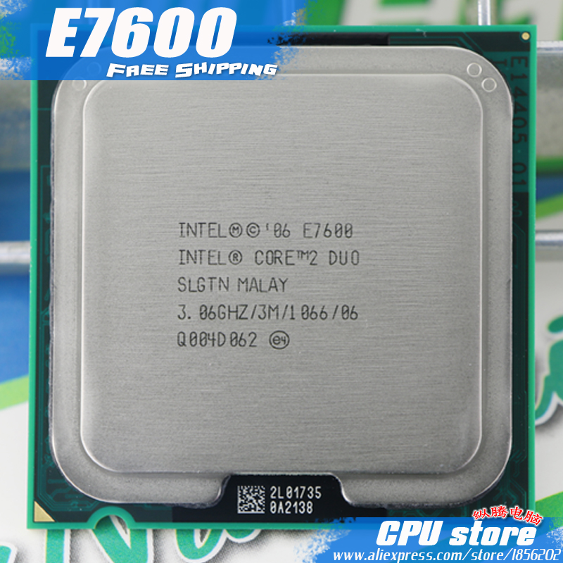 Intel Core 2 Duo e7600 Процессор процессор (3.0 ГГц/3 м/1066 ГГц) socket 775 Бесплатная доставка
