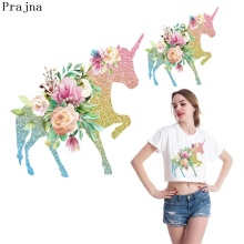 Prajna New Unicorn Flower Animal PVC Patch Ironing Heat Transfer Patches Clothes Garment DIY Applique Sticker