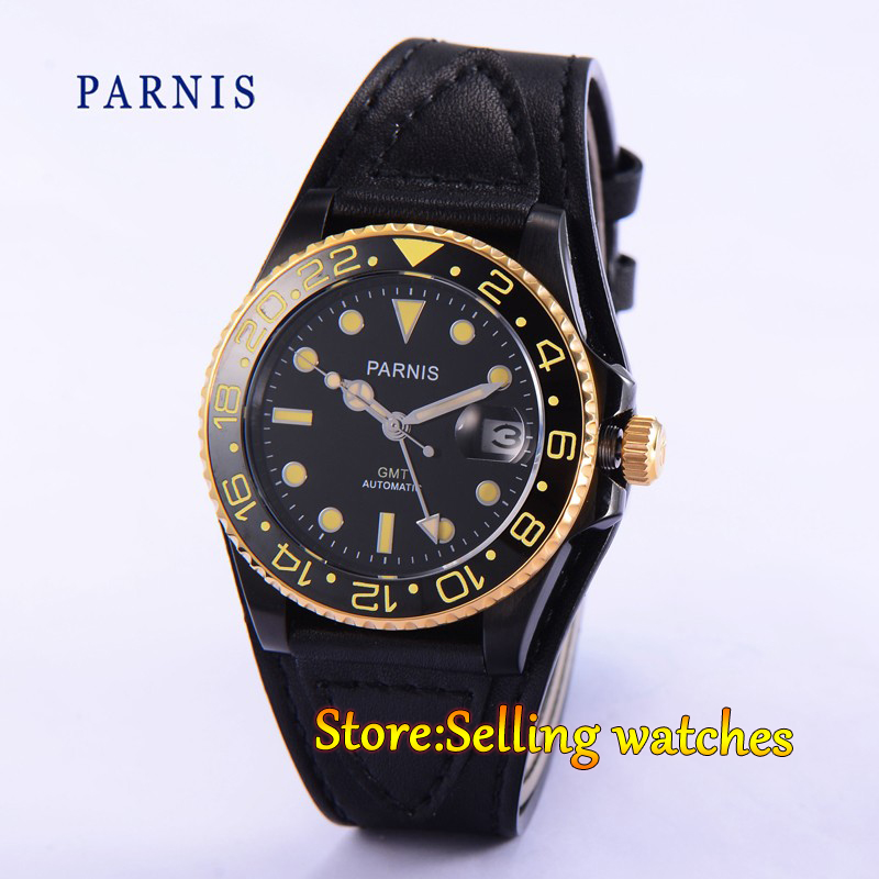 40mm Parnis Black Dial PVD case Sapphire crystal Mechanical Automatic Watch free shipping 40mm parnis pvd case black dial style mens automatic wristwatches pa4002pg