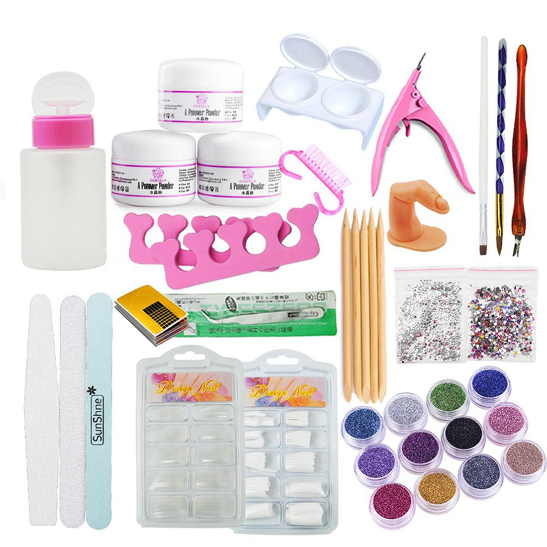 JEYL Hot Manicure Kit 19 Nails Nail Art Tips False Nails Sequins Decor Powder White Light Pink Manicure Set Kit (Size: Acrylic 2016 cartoon design nail art manicure tips water transfer nail stickers paradise vacation desgins nails wraps collections decor