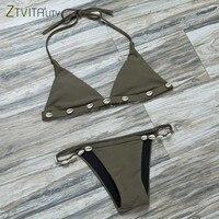 Swimwear Women 2017 Summer Style Beach Bikini Set Fashion Army Green Swimsuit Sexy Maillot De Bain