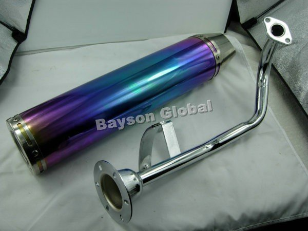 Scooter Performance Exhaust Muffler for GY6 50CC QMB139 Electroplating In surface TAOTAO PEACE JCL JONWAY  @88356