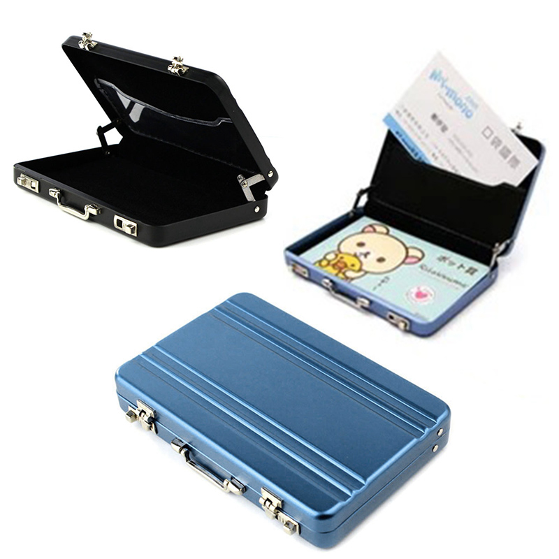 Metal Mini Suitcase Business Bank Card Name Card Holder Case Boxes ...