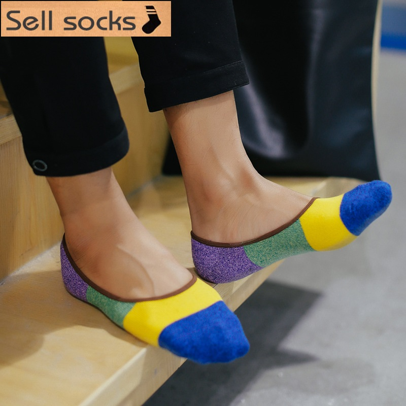 new summer Rough lines Silicone anti slip Invisible Casual man socks cotton sock slippers EUR39-44