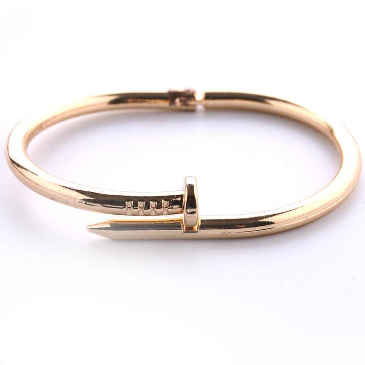 Brand Pulseira Feminina Silver Color Geometric Open Cuff Bangles Stainless Steel Bracelet Men Women 4 Colour Jewelry