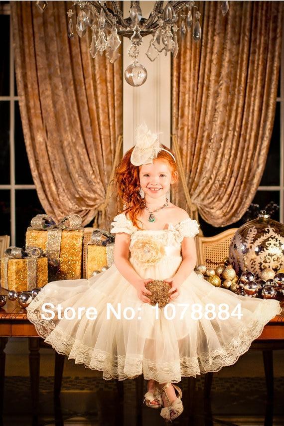 flower girl dressrustic dressCountry Flower Girl ivory