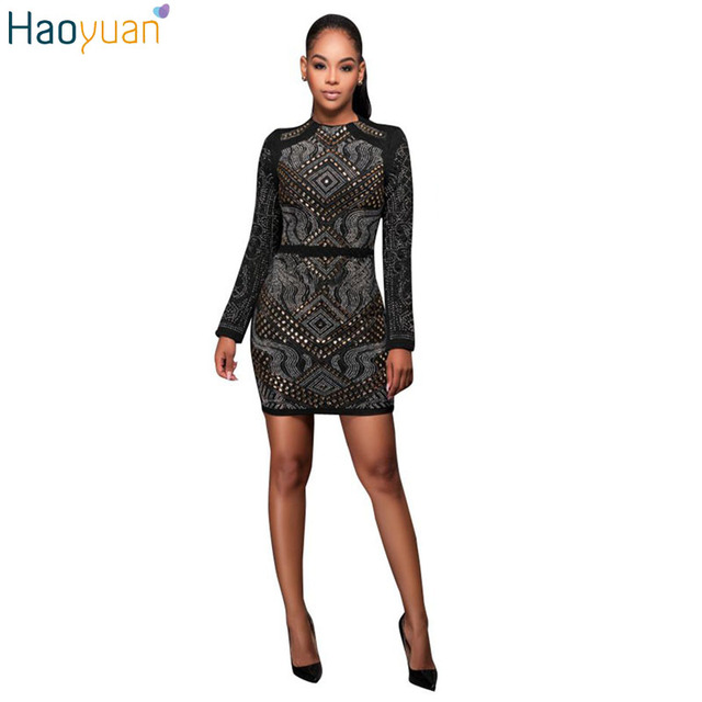 HAOYUAN Autumn Winter Sexy Dress Club Wear Robe Sexy Long Sleeve Beading Warm Ladies Dress Bodycon Women Slim Casual Party Dress