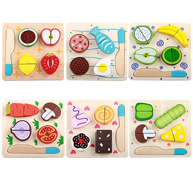 Wooden Kitchen Toys Cutting Fruit Vegetable Dessert Kids Cooking Kitchen Toy Food Pretend Play Puzzle Educational Toys