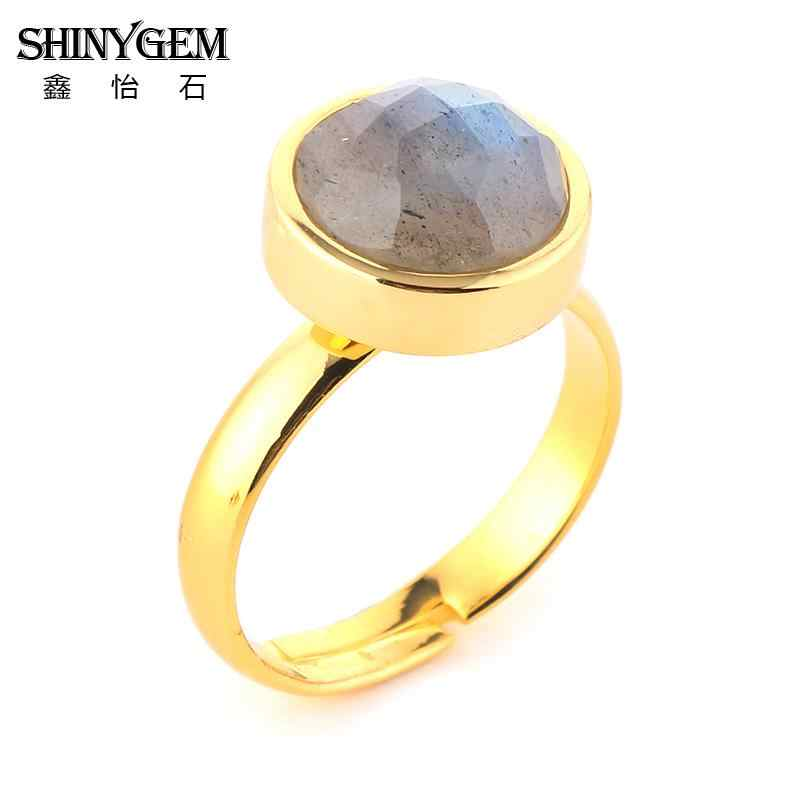 ShinyGem 10 มม. ชุบ Labradorite แหวนปรับ Vintage Faceted หินธรรมชาติแหวนประกายสีเทาอัญมณีแหวน