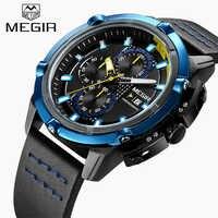 ใหม่ MEGIR แบรนด์นาฬิกาผู้ชาย Chronograph Luminous Hands นาฬิกาควอตซ์นาฬิกากองทัพทหารกีฬาแฟชั่นนาฬิกาข้อมือ relogio masculino