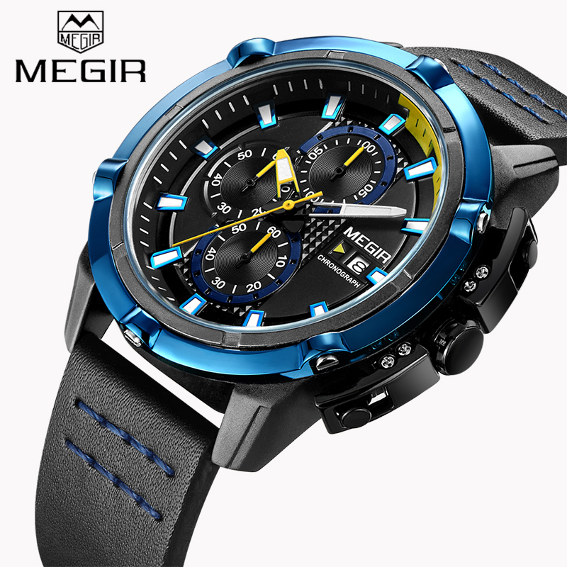 New MEGIR Brand Men's Chronograph Watches Luminous Hands Quartz Watch Army Military Fashion Sport Wristwatch relogio masculino