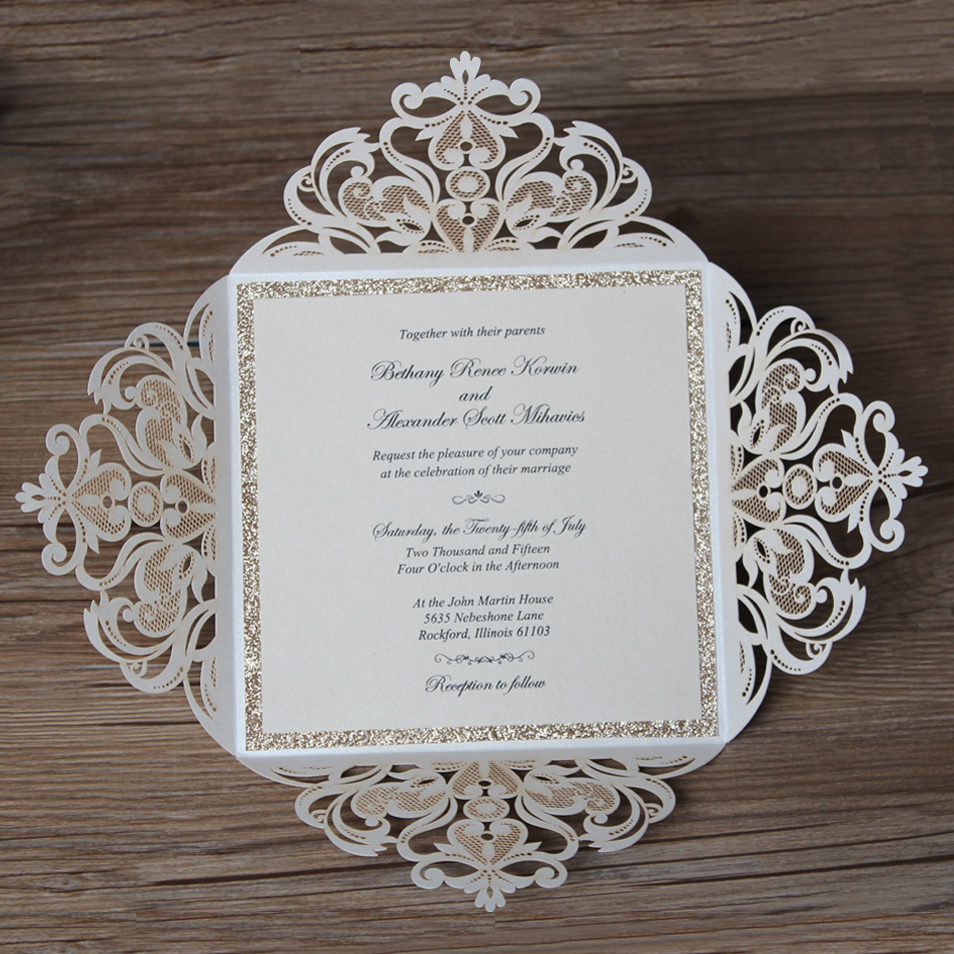 Luxury Laser Cut Wedding Invitations with Customized Wording CW519 ...