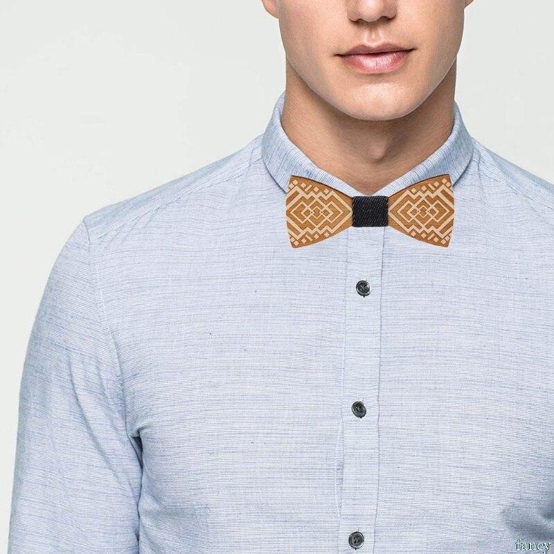 Men Unisex Wooden Bow Tie Wedding Party Cravat Carved Necktie Adjustable Bowknot