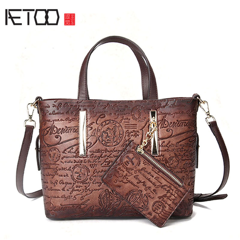 AETOO The new retro handbags leisure first layer of leather shoulder bag hand-polished large-capacity sub-package 2018 new crocodile pattern female large bag the first layer of leather luxury women s rectangular shoulder bag diagonal package