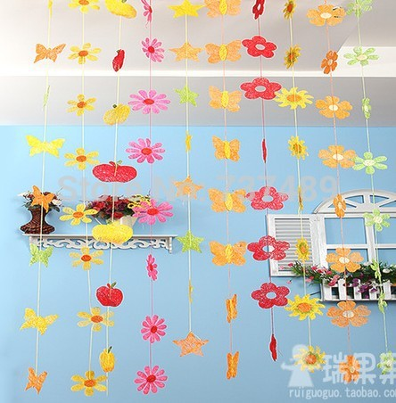 Us 16 98 Spring Decoration Decorative Color Flowers Star Kindergarten Classroom Butterfly Apple Corridor Region Partition In Men S Costumes From