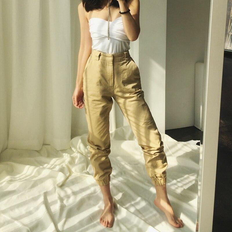 Spring vintage chain black cargo pants women high waist pants joggers baggy trousers women streetwear plus