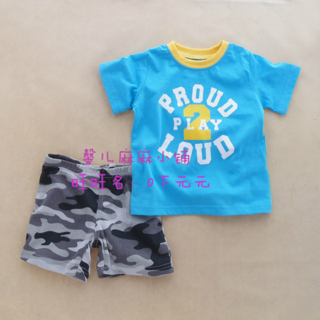 HOT Retail 2 colors summer style baby's clothing sets Kids boy girl short sleeve + camouflage pattern pants 2pcs suit