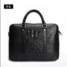 Таиланд Импорта 100% Подлинная/Настоящее Крокодиловой Кожи Мужчины Портфель, Сумка Для Ноутбука, топ Роскошные Мужчины Деловая сумка Черный, бесплатная Доставка