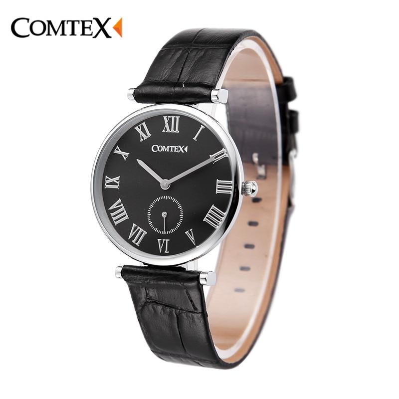 Comtex New Watches Women Watch black Leather simple wristwatch Luxury lady Casual clock women Relogio Feminino Quartz Watch gift