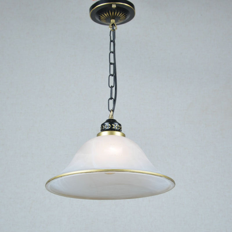 European Vintage Glass Balcony Chain Pendant Lamp Fixtures White Glass shade golded edge Corridor Hallway Chain Pendant Lights fumat stained glass ceiling lamp european church corridor magnolia etched glass indoor light fixtures for balcony front porch