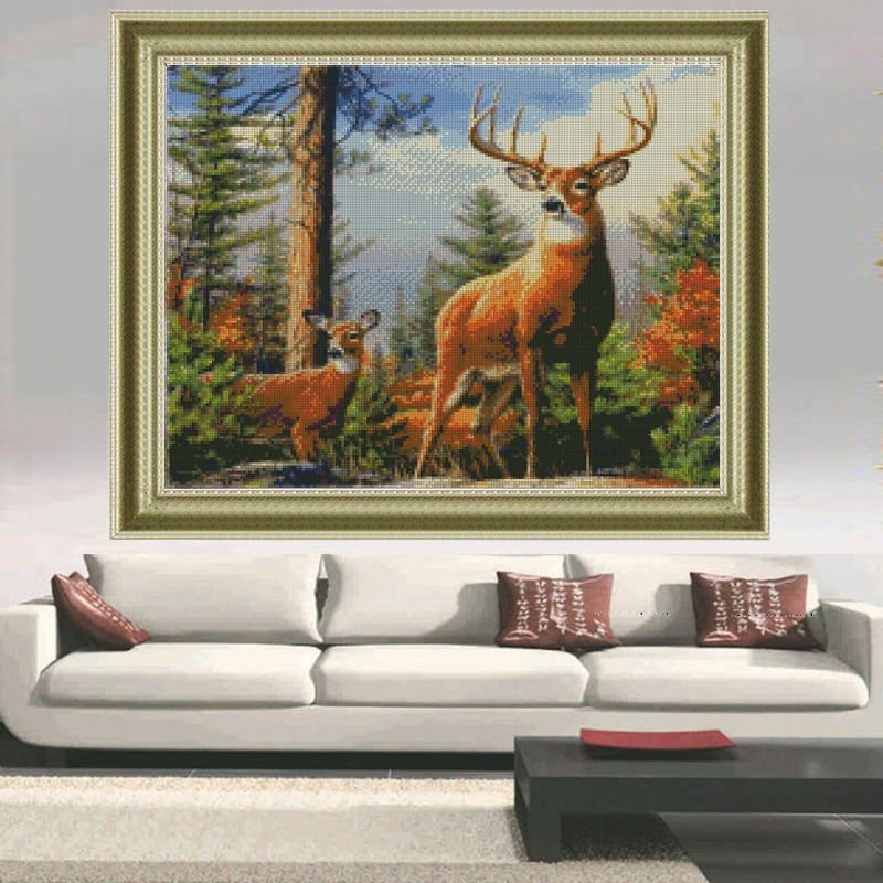 Peter ren Diamond Painting Cross stitch Home Decor 3 square drill mosaic full coverage Canvas Diamond Embroidery The deer horns in Diamond Painting Cross Stitch from Home Garden