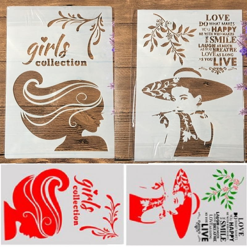 2Pcs/Lot A4 Long Hair Hat Girl Lady DIY Craft Layering Stencils Painting Scrapbooking Stamping Embossing Album Paper Template