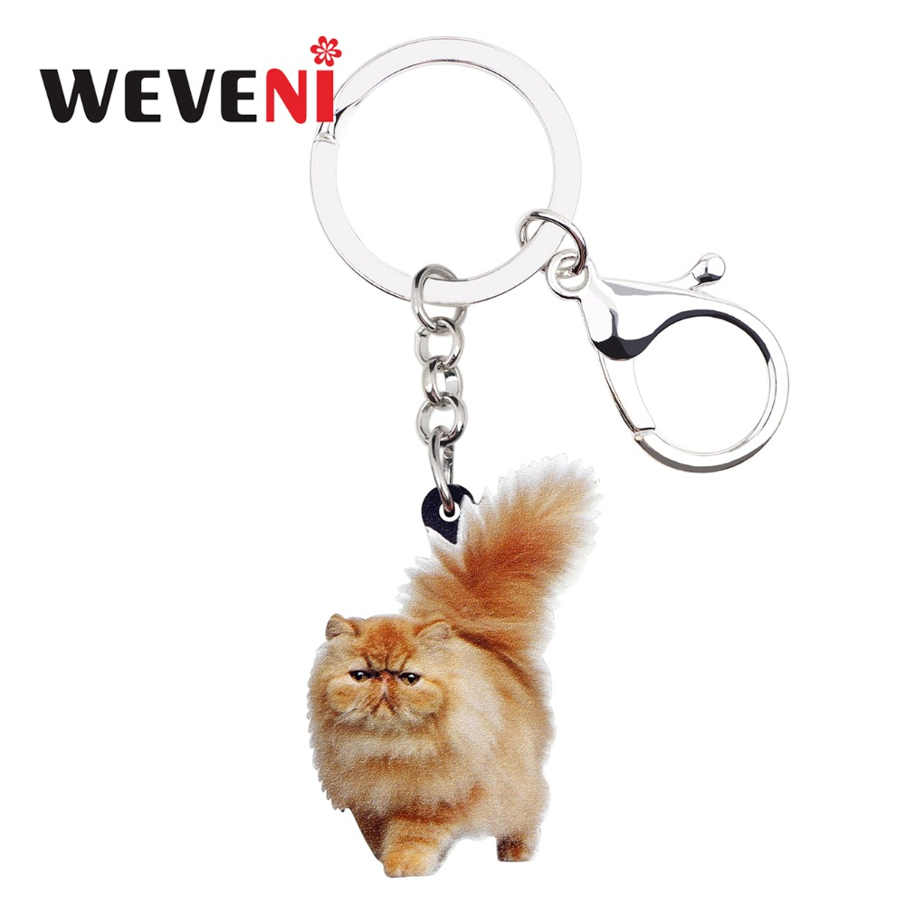 WEVENI Acrylic Fatty Fluffy Cat Kitten Key Chains Keychain Rings Jewelry For Women Girls Teen Handbag Car Charms Pet Accessories