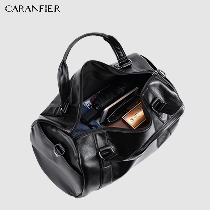 CARANFIER Mens Top PU Leather Handbags Travel Bags Classic Workout ... 79884b276e