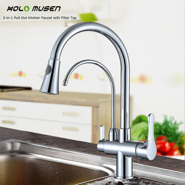 high quality brass 2 in 1 pull out kitchen faucet with filter tap delivers filtered water - Pull Out Kitchen Faucet