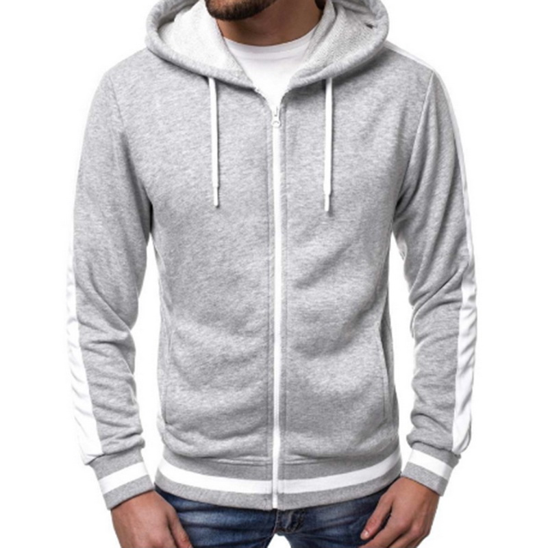 2019 Men Stripe Casual Workout Sweatshirt Hoodie Top Soild Male Pocket Zipper Tracksuit Men Cotton Cardigan Hoodies