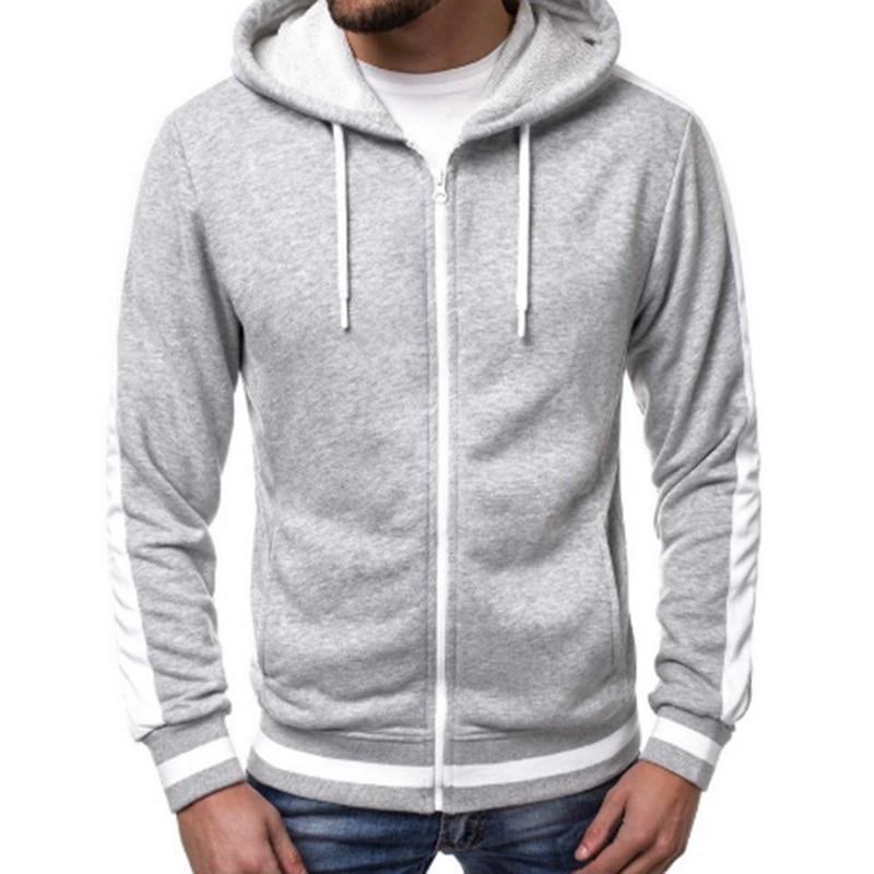 2019 Men Stripe Casual Workout Sweatshirt Hoodie Top Soild Male Pocket Zipper Tracksuit Men Cotton Cardigan Hoodies