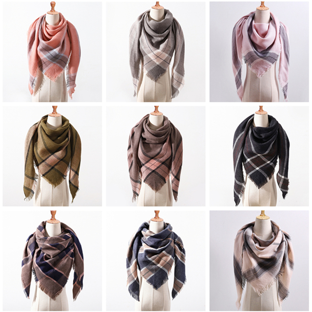 2018 new brand women scarf fashion plaid soft cashmere scarves shawl lady wraps designer Triangle warm Wholesale knitted bandana 5