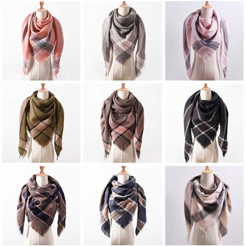 2019 novas mulheres da marca cachecol moda xadrez caxemira cachecóis xale macio lady wraps Triângulo designer quente Atacado malha bandana