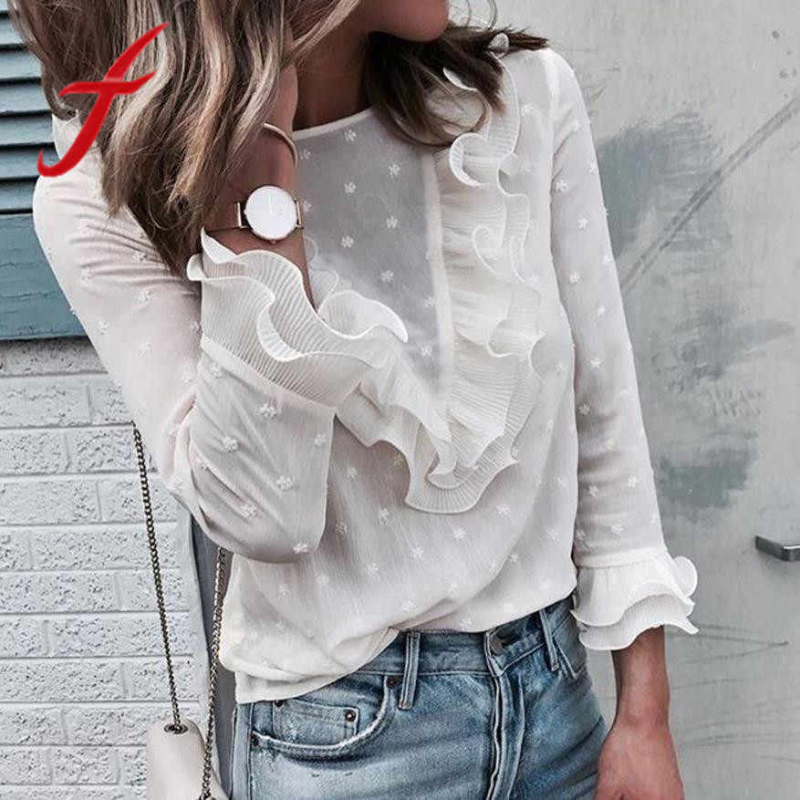 Feitong Women Ladies Blouses And Tops Casual Ruffles Lace Polka Dot O Neck Shirt Long Sleeve Blouse blusas mujer de moda 2019
