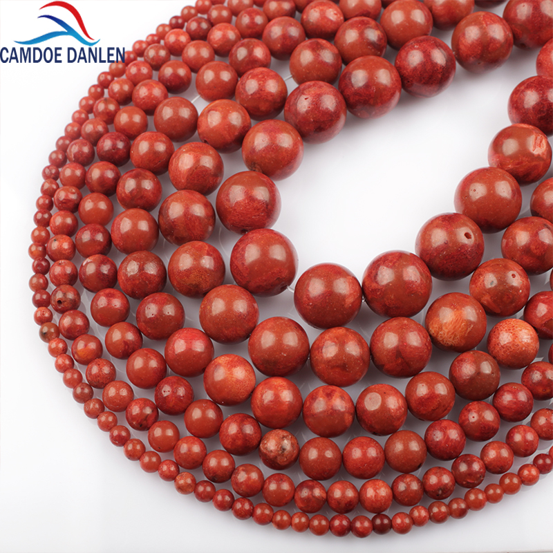 자연 붉은 산호 크기 4 6 8 10 12 14 16 18 24mm 15 'String Round Beads 쥬얼리 액세서리 Diy Beads for Jewelry Making