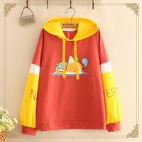 2018 Autumn Casual Hooded Sweatshirt Women Pullover Sleeping Dog Print Patchwork Long Sleeve Female Hoody Hoodies T579