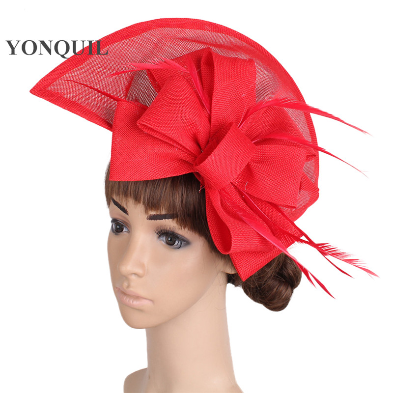 Women Vintage big derby loop fascinators hats red ladies event feather   headwear   race hair accessories fedora pillbox hats SYF66