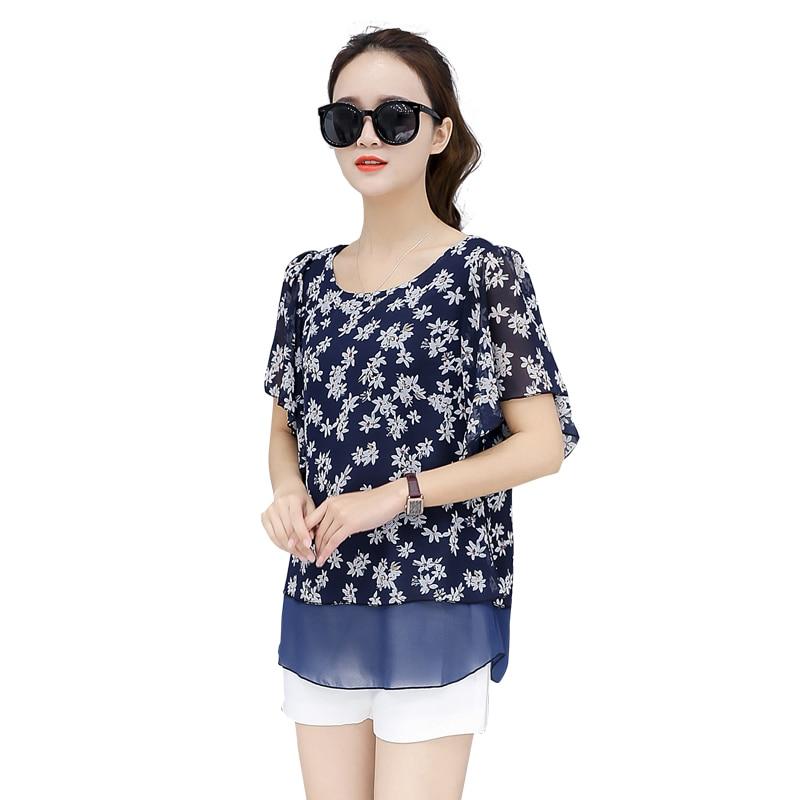 2018 blusa de verão nova coreano blusa feminina impressão chiffon camisas plus size 4xlo-neck bat manga feminina ropa mujer